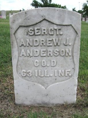 ANDERSON, ANDREW J (VETERAN UNION) - Ford County, Kansas   ANDREW J (VETERAN UNION) ANDERSON - Kansas Gravestone Photos