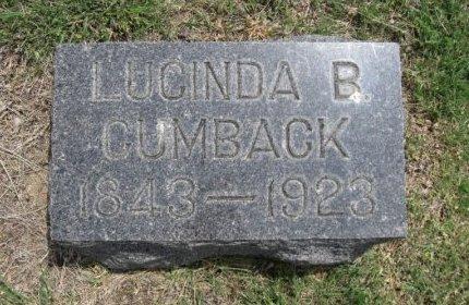CUMBACK, LUCINDA B - Ford County, Kansas | LUCINDA B CUMBACK - Kansas Gravestone Photos