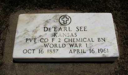 SEE, DE'EARL  (VETERAN WWI) - Ford County, Kansas | DE'EARL  (VETERAN WWI) SEE - Kansas Gravestone Photos