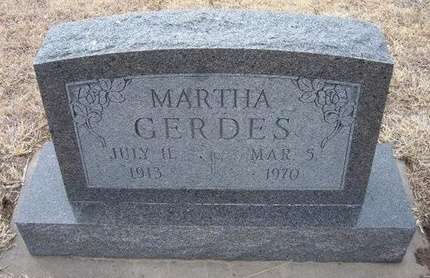 GERDES, MARTHA - Ford County, Kansas | MARTHA GERDES - Kansas Gravestone Photos
