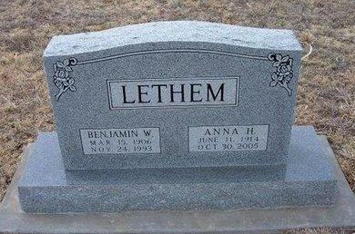 LETHEM, ANNA H - Ford County, Kansas | ANNA H LETHEM - Kansas Gravestone Photos