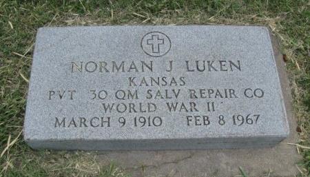 LUKEN, NORMAN J (VETERAN WWII) - Ford County, Kansas   NORMAN J (VETERAN WWII) LUKEN - Kansas Gravestone Photos