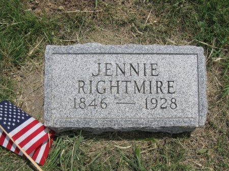 RIGHTMIRE, JENNIE - Ford County, Kansas | JENNIE RIGHTMIRE - Kansas Gravestone Photos