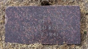 ROESENER, INFANT DAUGHTER - Ford County, Kansas | INFANT DAUGHTER ROESENER - Kansas Gravestone Photos