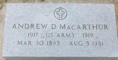 MACARTHUR, ANDREW DONALD  (VETERAN WWI) - Geary County, Kansas | ANDREW DONALD  (VETERAN WWI) MACARTHUR - Kansas Gravestone Photos