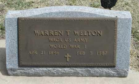 WELTON, WARREN THOMAS  (VETERAN WWI) - Gove County, Kansas | WARREN THOMAS  (VETERAN WWI) WELTON - Kansas Gravestone Photos