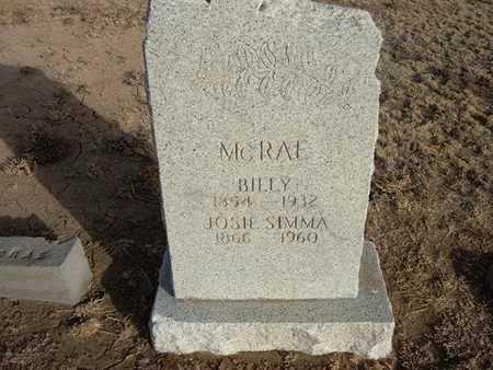 "MCRAE, J WILLIAM ""BILLY"" - Grant County, Kansas | J WILLIAM ""BILLY"" MCRAE - Kansas Gravestone Photos"