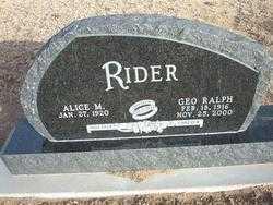 RIDER, ALICE M - Grant County, Kansas   ALICE M RIDER - Kansas Gravestone Photos