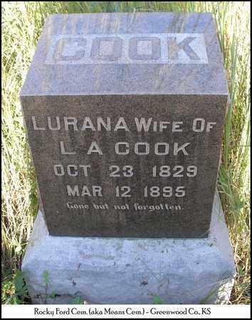 COOK, LURANA - Greenwood County, Kansas | LURANA COOK - Kansas Gravestone Photos