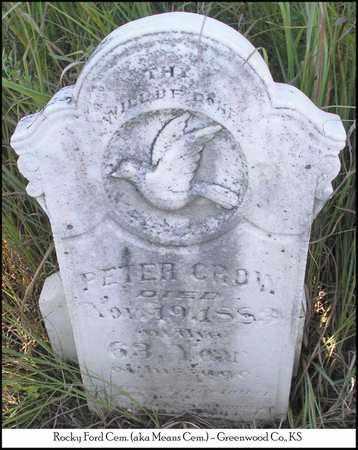 CROW, PETER - Greenwood County, Kansas   PETER CROW - Kansas Gravestone Photos