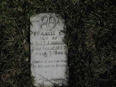 MALONE, FRANCIS E - Greenwood County, Kansas | FRANCIS E MALONE - Kansas Gravestone Photos