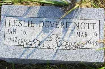 NOTT, LESLIE DEVERE - Jackson County, Kansas | LESLIE DEVERE NOTT - Kansas Gravestone Photos
