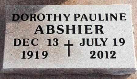 ABSHIER, DOROTHY PAULINE - Labette County, Kansas | DOROTHY PAULINE ABSHIER - Kansas Gravestone Photos