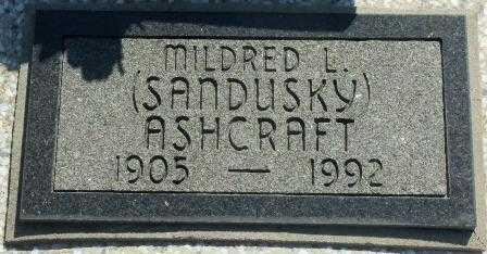 SANDUSKY ASHCRAFT, MILDRED L - Labette County, Kansas | MILDRED L SANDUSKY ASHCRAFT - Kansas Gravestone Photos
