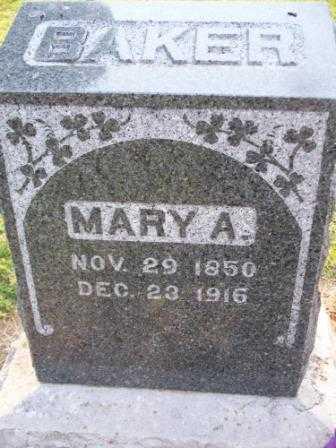 BAKER, MARY A - Labette County, Kansas   MARY A BAKER - Kansas Gravestone Photos