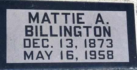BILLINGTON, MATTIE A - Labette County, Kansas | MATTIE A BILLINGTON - Kansas Gravestone Photos