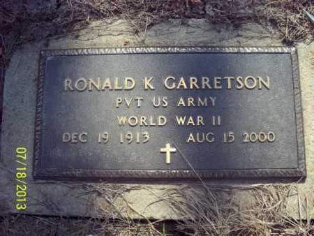 GARRETSON, RONALD K   (VETERAN WWII) - Labette County, Kansas   RONALD K   (VETERAN WWII) GARRETSON - Kansas Gravestone Photos