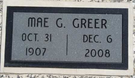 GOLDEN GREER, MAE - Labette County, Kansas | MAE GOLDEN GREER - Kansas Gravestone Photos