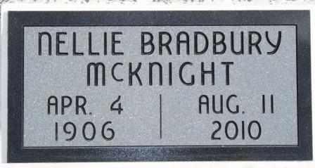 BRADBURY MCKNIGHT, NELLIE B - Labette County, Kansas | NELLIE B BRADBURY MCKNIGHT - Kansas Gravestone Photos