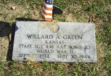 GREEN, WILLARD ARTHUR  (VETERAN WWII, KIA) - Lyon County, Kansas   WILLARD ARTHUR  (VETERAN WWII, KIA) GREEN - Kansas Gravestone Photos
