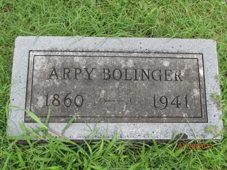BOLINGER, ARPY - Montgomery County, Kansas | ARPY BOLINGER - Kansas Gravestone Photos