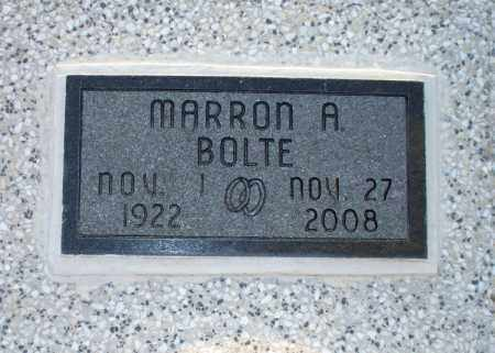 BOLTE, MARRON ARVINE - Montgomery County, Kansas | MARRON ARVINE BOLTE - Kansas Gravestone Photos