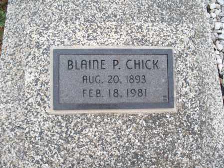 CHICK, BLAINE P - Montgomery County, Kansas   BLAINE P CHICK - Kansas Gravestone Photos