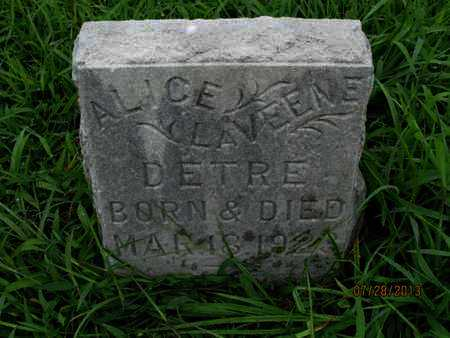 DETRE, ALICE CLAVEENE - Montgomery County, Kansas | ALICE CLAVEENE DETRE - Kansas Gravestone Photos