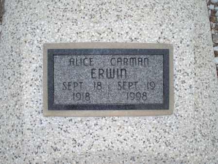 ERWIN, ALICE CARMAN - Montgomery County, Kansas | ALICE CARMAN ERWIN - Kansas Gravestone Photos