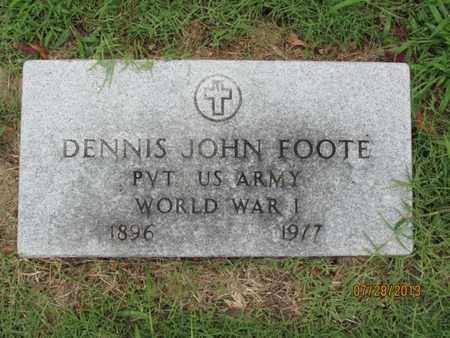 FOOTE, DENNIS JOHN  (VETERAN WWI) - Montgomery County, Kansas   DENNIS JOHN  (VETERAN WWI) FOOTE - Kansas Gravestone Photos