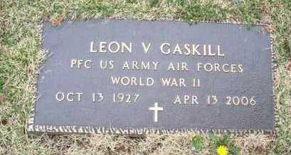 GASKILL, LEON V  (VETERAN WWII) - Montgomery County, Kansas | LEON V  (VETERAN WWII) GASKILL - Kansas Gravestone Photos