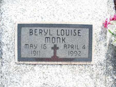 MONK, BERYL LOUISE - Montgomery County, Kansas | BERYL LOUISE MONK - Kansas Gravestone Photos