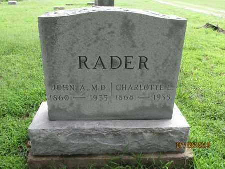 RADER, JOHN A, M D  - Montgomery County, Kansas | JOHN A, M D  RADER - Kansas Gravestone Photos