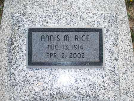 RICE, ANNIS M - Montgomery County, Kansas | ANNIS M RICE - Kansas Gravestone Photos