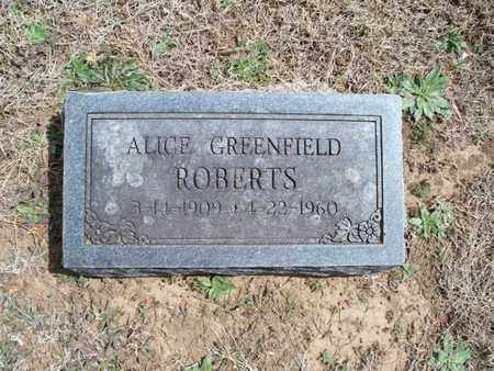 GREENFIELD ROBERTS, ALICE - Montgomery County, Kansas | ALICE GREENFIELD ROBERTS - Kansas Gravestone Photos