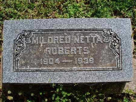 ROBERTS, MILDRED NETTA - Montgomery County, Kansas | MILDRED NETTA ROBERTS - Kansas Gravestone Photos
