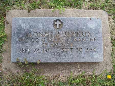 ROBERTS, ALONZO B   (VETERAN SAW) - Montgomery County, Kansas   ALONZO B   (VETERAN SAW) ROBERTS - Kansas Gravestone Photos