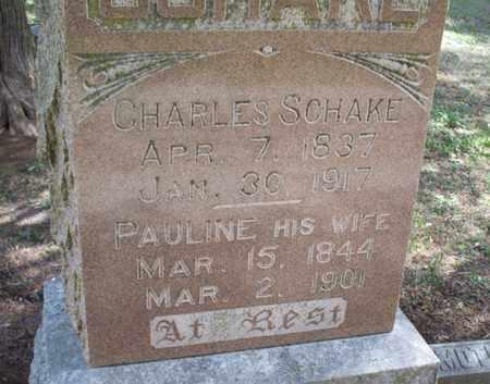 "SCHAKE, CARL ""CHARLES"" - Montgomery County, Kansas | CARL ""CHARLES"" SCHAKE - Kansas Gravestone Photos"