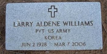 WILLIAMS, LARRY ALDENE   (VETERAN KOR) - Pratt County, Kansas | LARRY ALDENE   (VETERAN KOR) WILLIAMS - Kansas Gravestone Photos