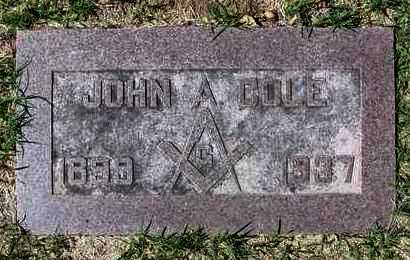 COLE, JOHN ALFRED - Reno County, Kansas   JOHN ALFRED COLE - Kansas Gravestone Photos