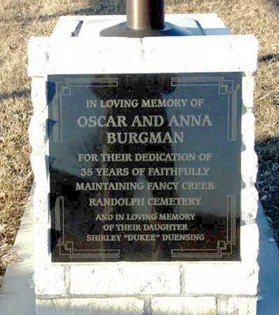 *BURGMAN MEMORIAL, FANCY CREEK RANDOLPH CEMETERY - Riley County, Kansas | FANCY CREEK RANDOLPH CEMETERY *BURGMAN MEMORIAL - Kansas Gravestone Photos