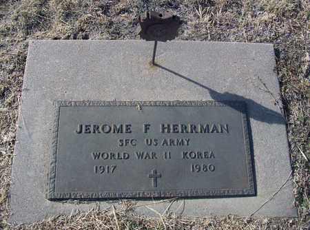 HERRMAN, JEROME F   (VETERAN 2 WARS) - Rush County, Kansas | JEROME F   (VETERAN 2 WARS) HERRMAN - Kansas Gravestone Photos