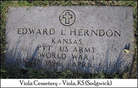 HERNDON, EDWARD LESTER  (VETERAN WWI) - Sedgwick County, Kansas | EDWARD LESTER  (VETERAN WWI) HERNDON - Kansas Gravestone Photos