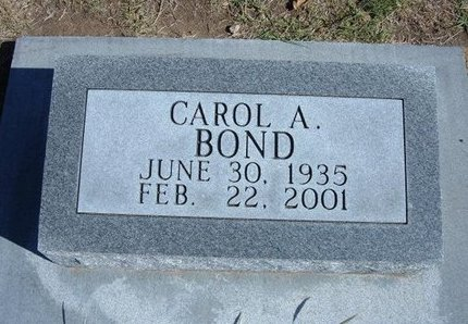 BOND, CAROL A - Stevens County, Kansas | CAROL A BOND - Kansas Gravestone Photos