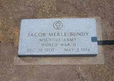 BUNDY, JACOB MERLE   (VETERAN WWII) - Stevens County, Kansas | JACOB MERLE   (VETERAN WWII) BUNDY - Kansas Gravestone Photos