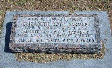 FARMER, ELIZABETH RUTH - Stevens County, Kansas   ELIZABETH RUTH FARMER - Kansas Gravestone Photos