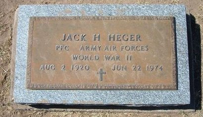 HEGER, JACK H   (VETERAN WWII) - Stevens County, Kansas | JACK H   (VETERAN WWII) HEGER - Kansas Gravestone Photos