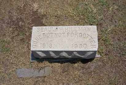 BLAKESLEY HILEMAN, BEAULAH - Stevens County, Kansas | BEAULAH BLAKESLEY HILEMAN - Kansas Gravestone Photos