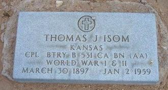 ISOM, THOMAS J   (VETERAN 2WARS) - Stevens County, Kansas | THOMAS J   (VETERAN 2WARS) ISOM - Kansas Gravestone Photos