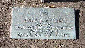 MCCALL, JOHN K   (VETERAN WWII) - Stevens County, Kansas   JOHN K   (VETERAN WWII) MCCALL - Kansas Gravestone Photos